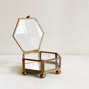 Brass Hexagon Glass Trinket jewelry Box